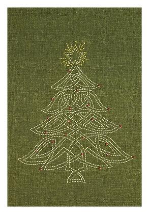 'Celtic Christmas tree' sashiko panel GREEN