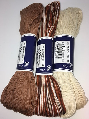 cream and choc 3 x 100m plain sashiko threads pack