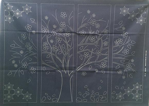'Cherry Tree in Spring' sashiko panel INDIGO