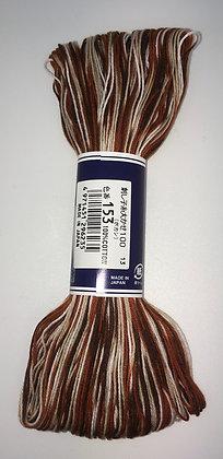 #153 dark brown/white shaded 100m medium sashiko thread