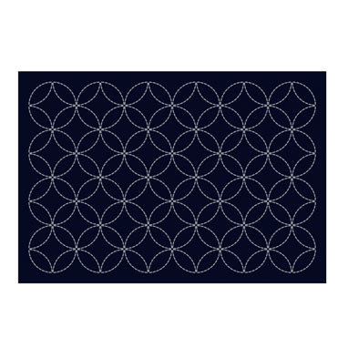 L-2001 sashiko hanafukin placemat 'shippo' - indigo blue