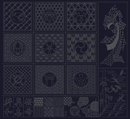 #QH10 'Wagara' sashiko panel INDIGO