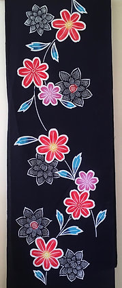 #YU004 vintage yukata cotton retro floral on indigo