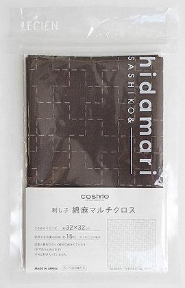 Lecien Cosmo 'hidamari' brown crosses sashiko sampler