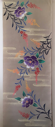 #YU007 vintage yukata cotton flowers on beige