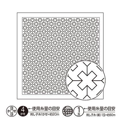 #H1024 white sashiko hanafukin panel 'kurosu tsunagi'
