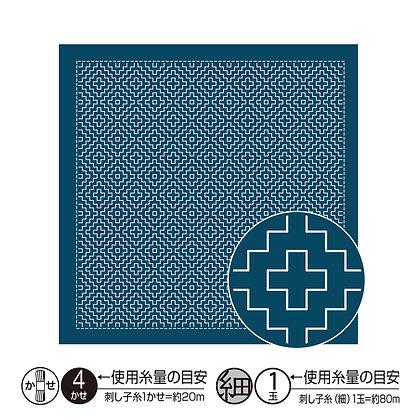 #H2017 indigo blue sashiko hanafukin panel 'mitsu kakinohanazashi'