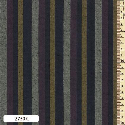 2730C striped shima momen cotton yellow aubergine grey by the half metre