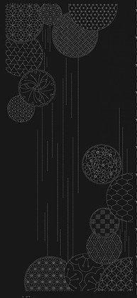 'Waterfall' QH sashiko panel BLACK