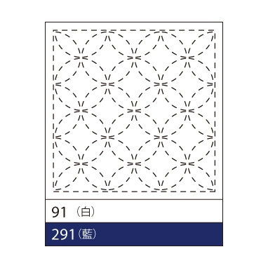 #291 sashiko hanafukin panel 'shippō tsunagi' traditional pattern - blue
