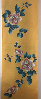 #YU010 vintage yukata cotton flowers on yellow