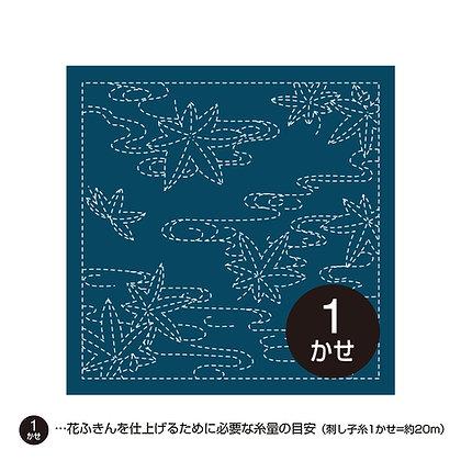 #H-214 indigo blue sashiko hanafukin panel 'momiji' maple leaves