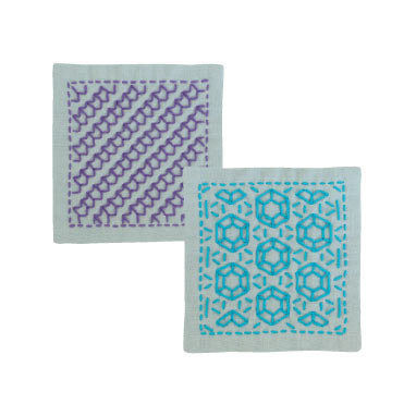 #SK299 light blue hitomezashi sashiko coaster kit