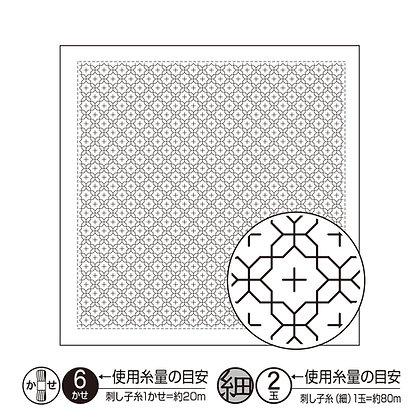 H1016 white sashiko hanafukin panel 'jyuuji tsunagi'