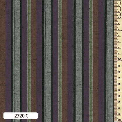 2720C striped shima momen cotton russet purple grey by the half metre