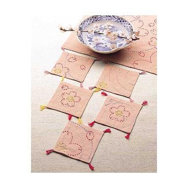 #SASHIKO158  pink sashiko coaster kit 'sakura' cherry blossoms