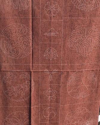 russet kamon crests sashiko panel