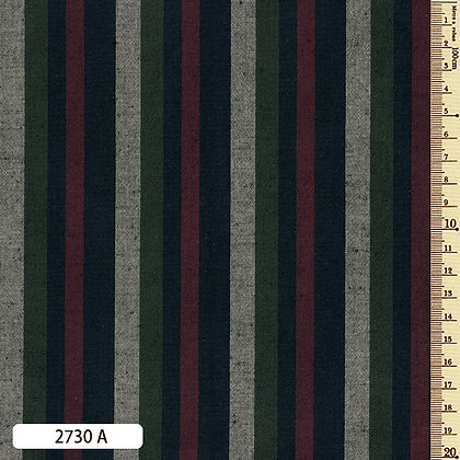 2730A striped shima momen cotton green red grey by the half metre