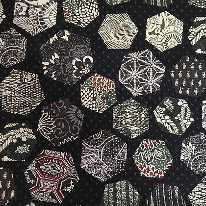 'Sekuta' BLACK Japanese patchwork print hexagons