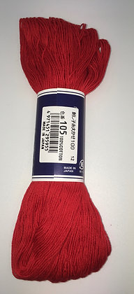 #105 bright red 100m medium sashiko thread