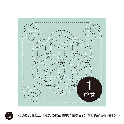 #480 sashiko hanafukin panel 'Kikyō to hana-zashi' - light blue