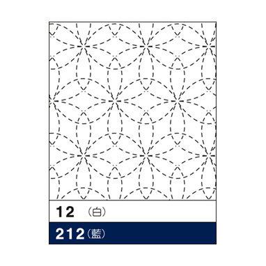 #212 sashiko hanafukin panel 'hanazashi' traditional pattern - blue