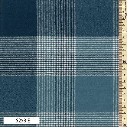 S253E Sakizome Momen indigo blue checked cotton by the half metre