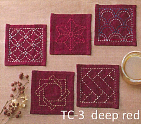 #TC-3 deep red sashiko coaster panel only