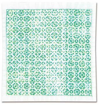 #H1054 white sashiko hanafukin panel 'māgaretto'