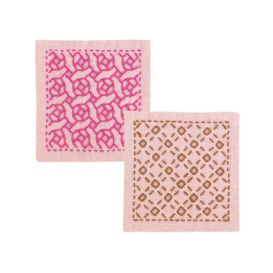 #SK297 pink  hitomezashi sashiko coaster kit