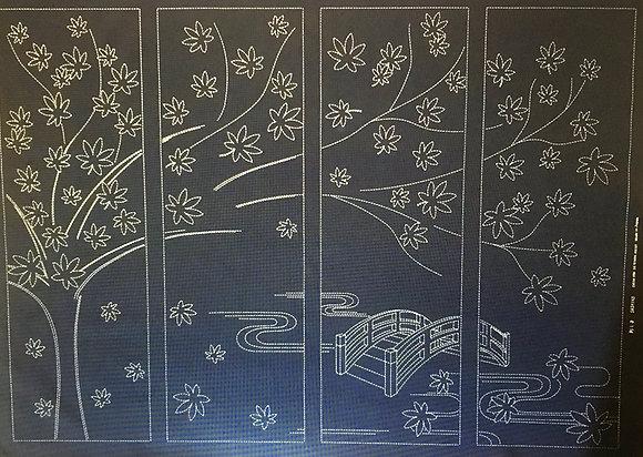 'Japanese maple tree' sashiko panel INDIGO
