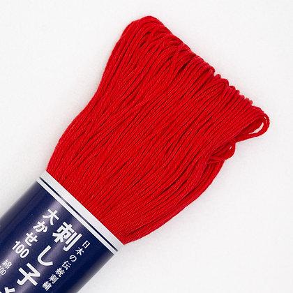 #105 bright red 100m medium sashiko thread