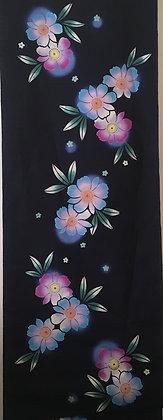 #YU011 vintage yukata cotton flowers on indigo