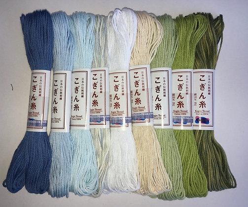 Kogin thread set x 9 'ajisai' light blues/white