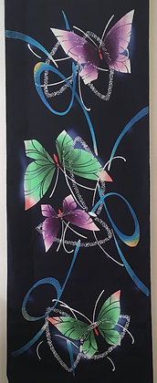 #YU009 vintage yukata cotton butterflies on indigo