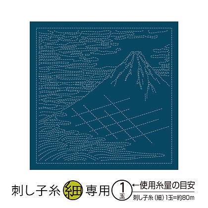#H-2096 indigo blue sashiko hanafukin panel 'Red Fuji'