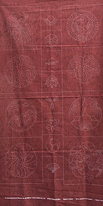 brick red kamon sashiko panel