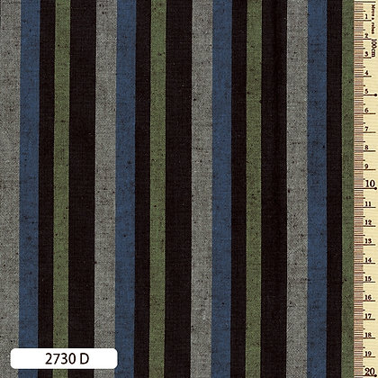 2730D striped shima momen cotton blue green grey by the half metre