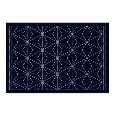 L-2003 sashiko hanafukin placemat 'asanoha' - indigo blue