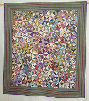 1p PDF pinwheel quilt pattern - a great scrapbuster project!