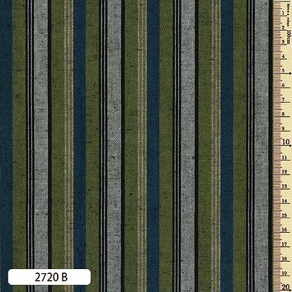 2720B striped shima momen cotton green blue grey by the half metre