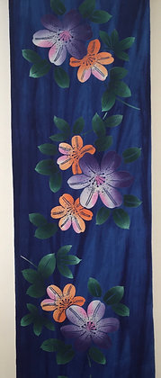 #YU012 vintage yukata cotton flowers on royal blue