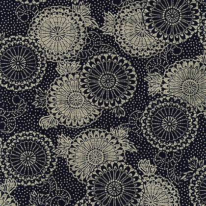 'karakusa to kiku' by Sevenberry linen look cotton by 1/2m