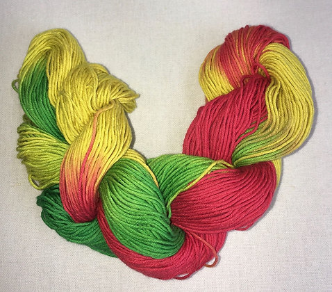 shade D - thick sashiko thread 180m skein red/gold/green varigated