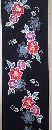 #YU017 vintage yukata cotton flowers on indigo