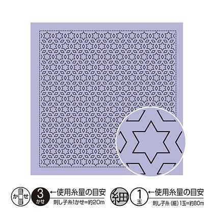 #H7020 lilac sashiko hanafukin panel 'hoshi to mitsubishi'