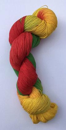 shade D - fine sashiko thread 370m skein red/gold/green varigated