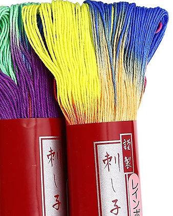 #101 rainbow 100m medium Yokota Daruma sashiko thread