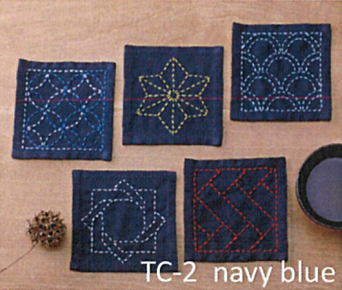 #TC-2 navy blue sashiko coaster panel only