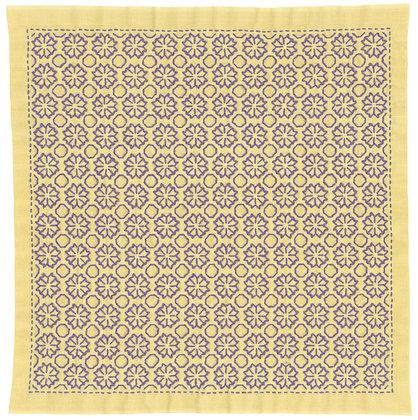 #H5034 yellow ochre sashiko hanafukin panel 'kiku no hana'
